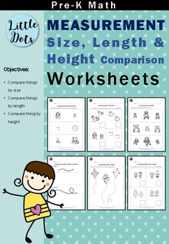 pre k measurement worksheets bundle comparing size length and height. Black Bedroom Furniture Sets. Home Design Ideas