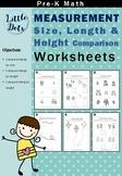 Pre-K Measurement Worksheets Bundle (Comparing Size, Lengt