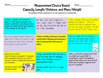 Measurement Choice Board