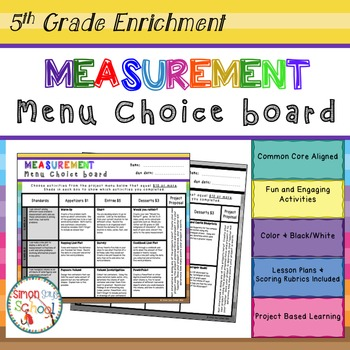 Measurement and Data Enrichment Projects Choice Board – 5th Grade