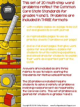 Measurement Common Core Word Problem Collection: Grade 4-5