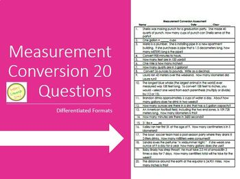 Measurement Conversion 20 Question Assessment w Differenti