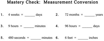 Measurement Conversion, 3rd grade - worksheets - Individualized Math