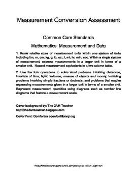 Measurement Conversion Assessment - Grade 4