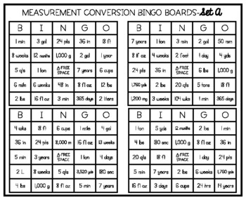 Measurement Conversion Bingo