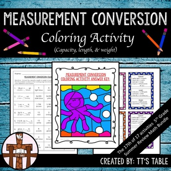 Measurement Conversion Coloring Activity (Capacity, Length