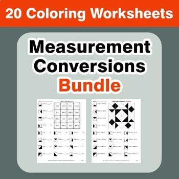 Measurement Conversion Coloring Worksheets Bundle