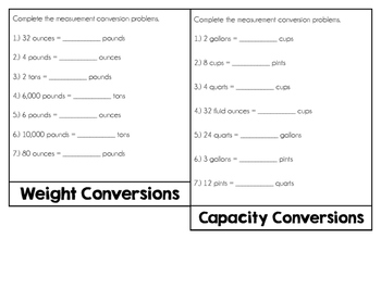 Measurement Conversion Flipbook (Customary System)
