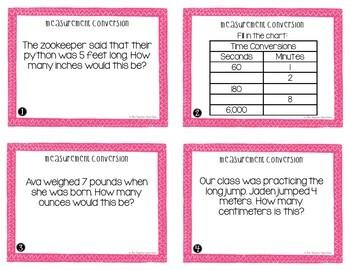 4th Grade Measurement Conversion Task Cards | Measurement Conversion Center Game