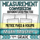 Measurement Conversion Worksheets Metric Mass & Volume