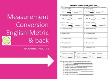 Measurement Conversion Practice English-English and Metric-Metric