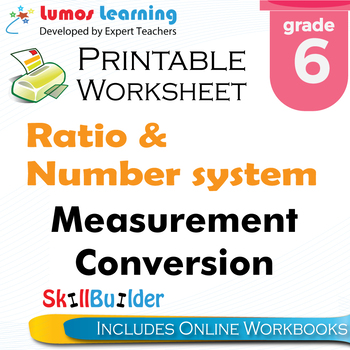 Measurement Conversion Printable Worksheet, Grade 6