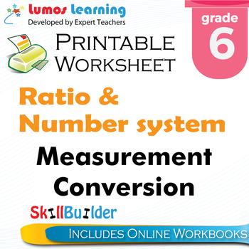 Measurement Conversion Printable Worksheet, Grade 6
