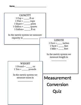 Measurement Conversion Quiz