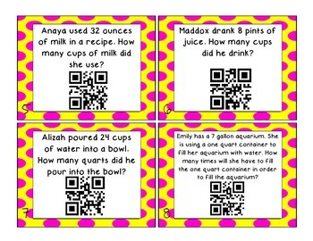 Measurement Conversion Task Cards with QR codes