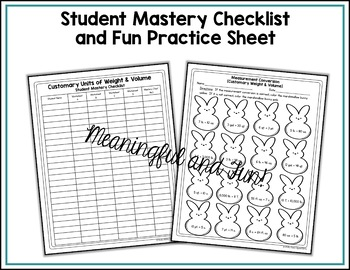 Measurement Conversion Worksheets Customary Weight and Volume