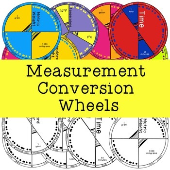 Measurement Conversion Wheels, Metric Standard Linear Weight Volume Time