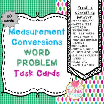 Measurement Conversion Word Problem Task Cards