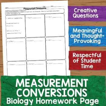 Measurement Conversions Biology Homework Worksheet