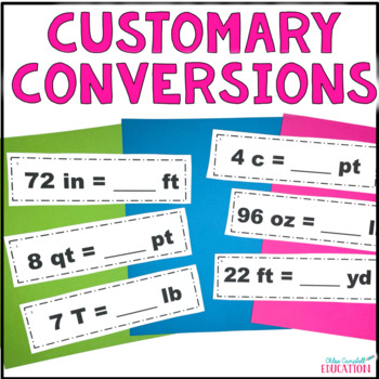 Measurement Conversions, Customary Units Differentiated Around the Room Activity