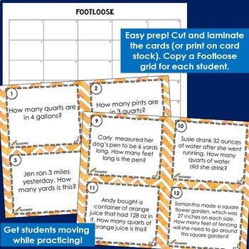 Measurement Conversions Task Cards | Footloose Math Game &  Problem Solving