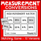 Measurement Conversions Matching Game, Metric and Customary Conversions Sort