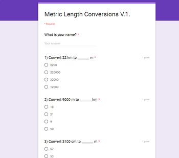 Measurement Conversions Quiz with Google Forms Bundle