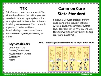 TEK 5.7 and CCSS 5.MD.A.1:  Measurement Conversions Super Bowl