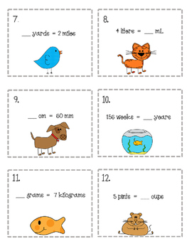 Measurement Conversions 30 Task Cards & Game