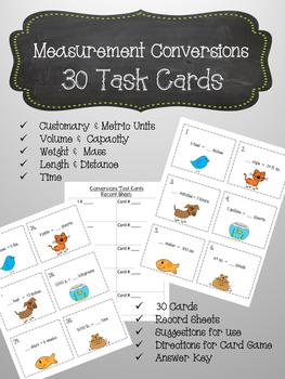 Measurement Conversions 30 Task Cards & Game