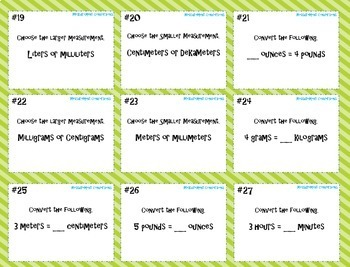 Measurement Conversions Task Cards with Game Board ~CCSS 4.MD.1 and 5.MD.1