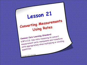 Measurement Conversions Using Rates; SMART Board Lesson