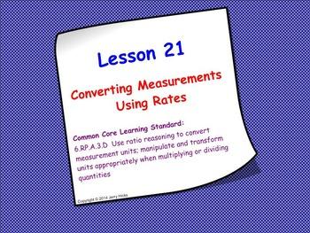 Measurement Conversions Using Rates; SMART Board Lesson and Worksheet Bundle