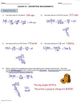 Measurement Conversions Using Rates; Worksheet and Homework