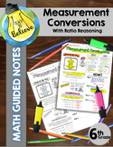 Measurement Conversions with Ratio Reasoning - Math Guided Notes
