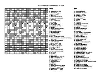 Measurement Crossword Puzzle, Grades 6 and Up
