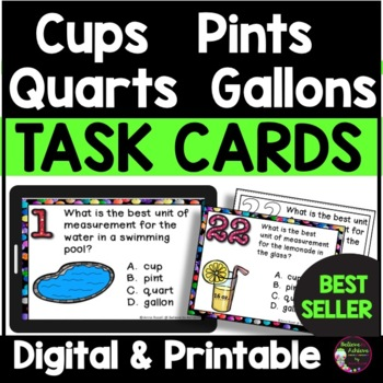 Measurement - Cups, Pints, Quarts, Gallons (24 Task cards)