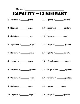 Measurement Customary Capacity Conversion