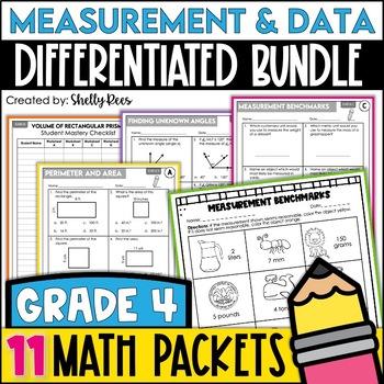 Measurement & Data Worksheets 4th Grade Bundle