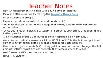 Measurement & Data Jeopardy Review Game