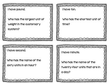 """Measurement & Data Math Vocabulary """"I Have, Who Has?"""" Review Game"""