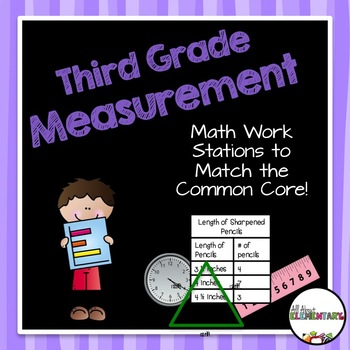 Measurement Work Stations {Telling Time, Perimeter, Area,