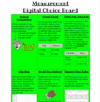 Measurement Digital Choice Board
