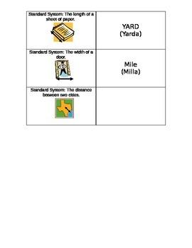 Measurement Domino Card Game Spanish/English