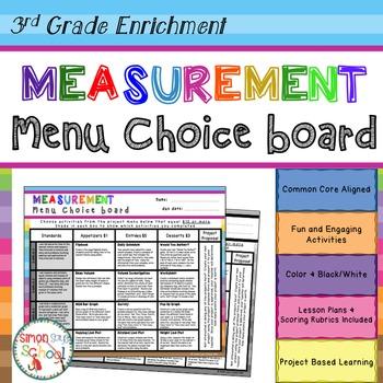 3rd Grade Measurement Project Choice Board – Enrichment Math Menu