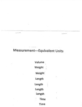Measurement - Equivalent Units Flip Book