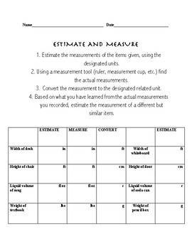 FREEBIE- Full Lesson plan with worksheet-Estimating and Measuring