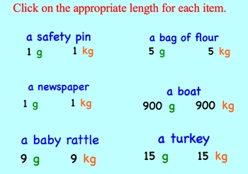 Measurement Estimation Grams and Kilograms Metric Smartboard Lessons