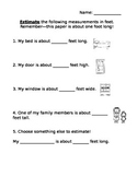 Measurement Estimation Homework (feet)