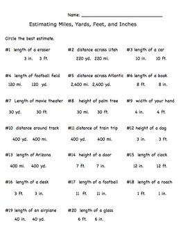 math worksheet : measurement estimation inch feet yards miles worksheet by  : Feet To Inches Worksheet